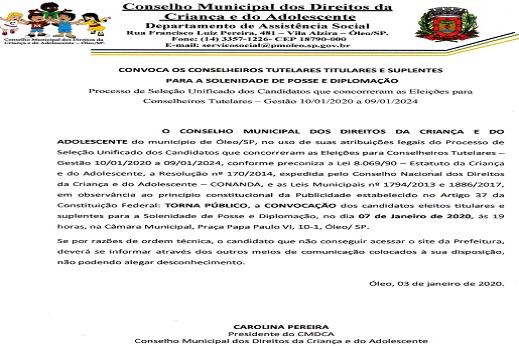 CONVOCAÇÃO CONSELHEIROS TITULARES E SUPLENTES PARA SOLENIDADE DE POSSE E DIPLOMAÇÃO
