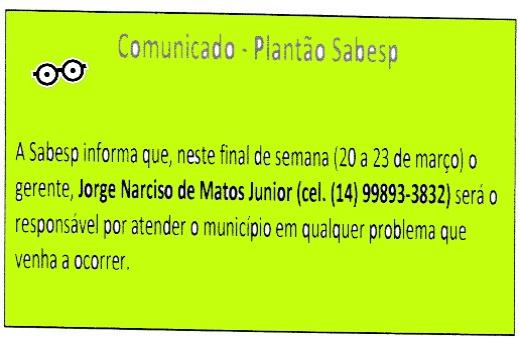 COMUNICADO - PLANTÃOSABESP