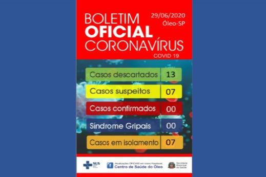 BOLETIM OFICIAL CORONAVÍRUS 29/06/2020 - SECRETARIA MUNICIPAL DE SAÚDE