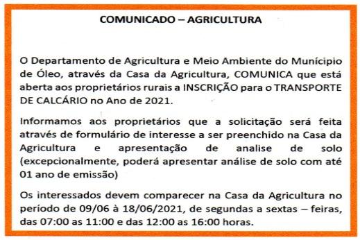 COMUNICADO – AGRICULTURA